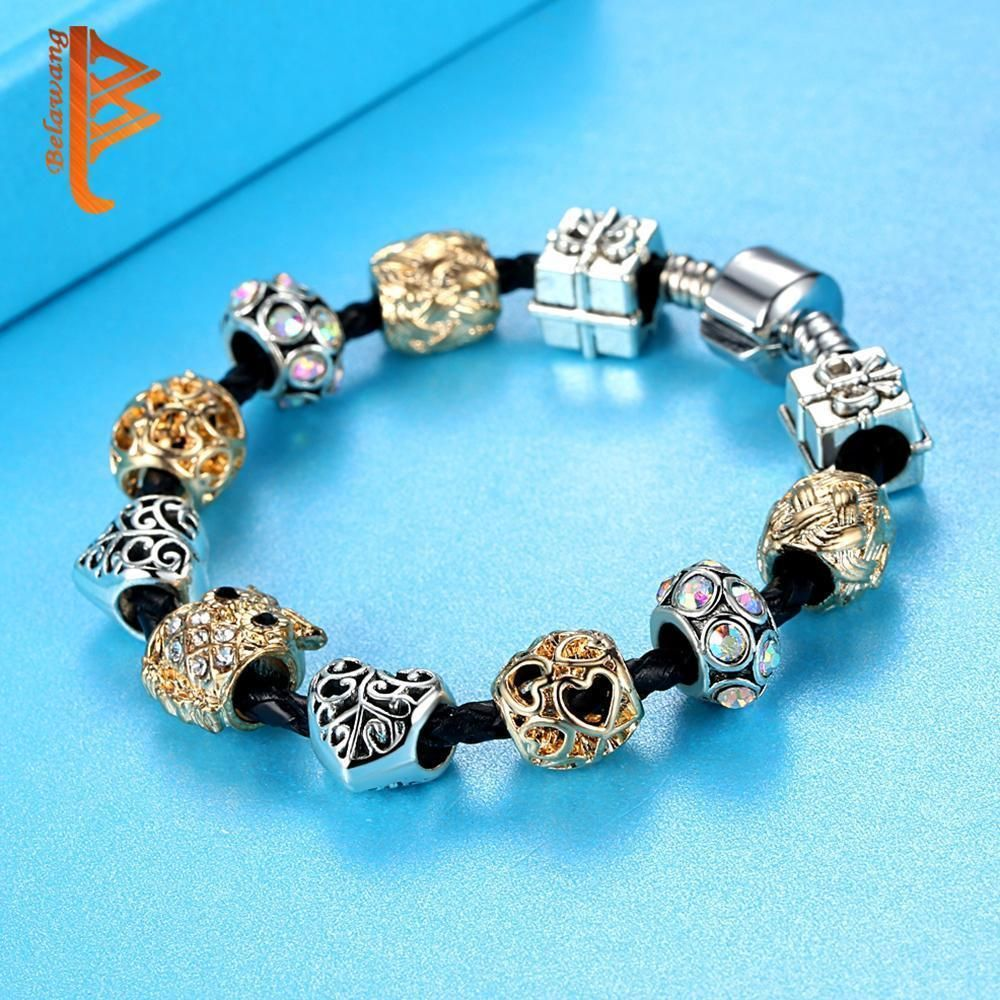 Brand design fashion silvergold animal owl charm bracelet for