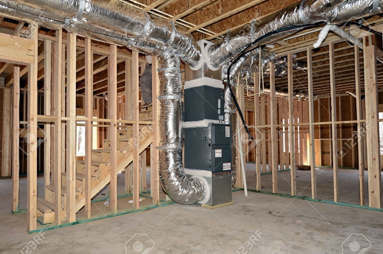 The Newly Framed Basement Area Of A House The Central Heat And Air Duct Work System Is Beside The Stairs Aff A Hvac Installation Duct Work Hvac Ductwork