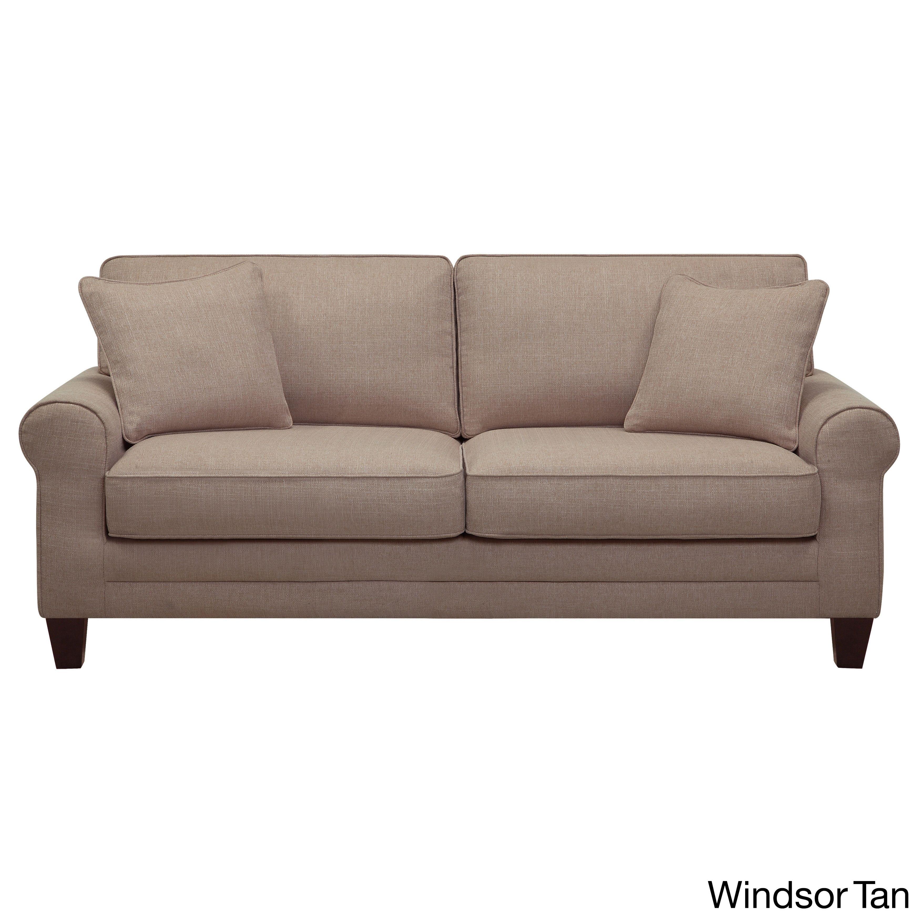Serta Copenhagen Microfiber 73 Inch Deep Seating Sofa Windsor Tan Foam