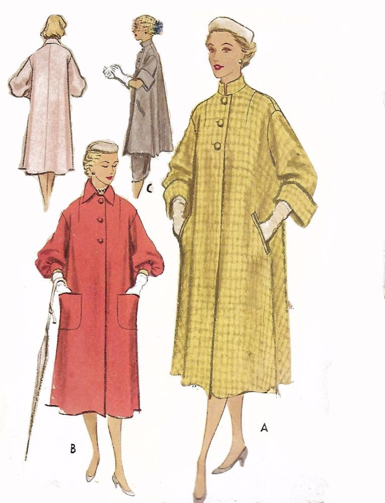 Vintage 1950s Sewing Pattern Reversible Coat Lounging Coat B32