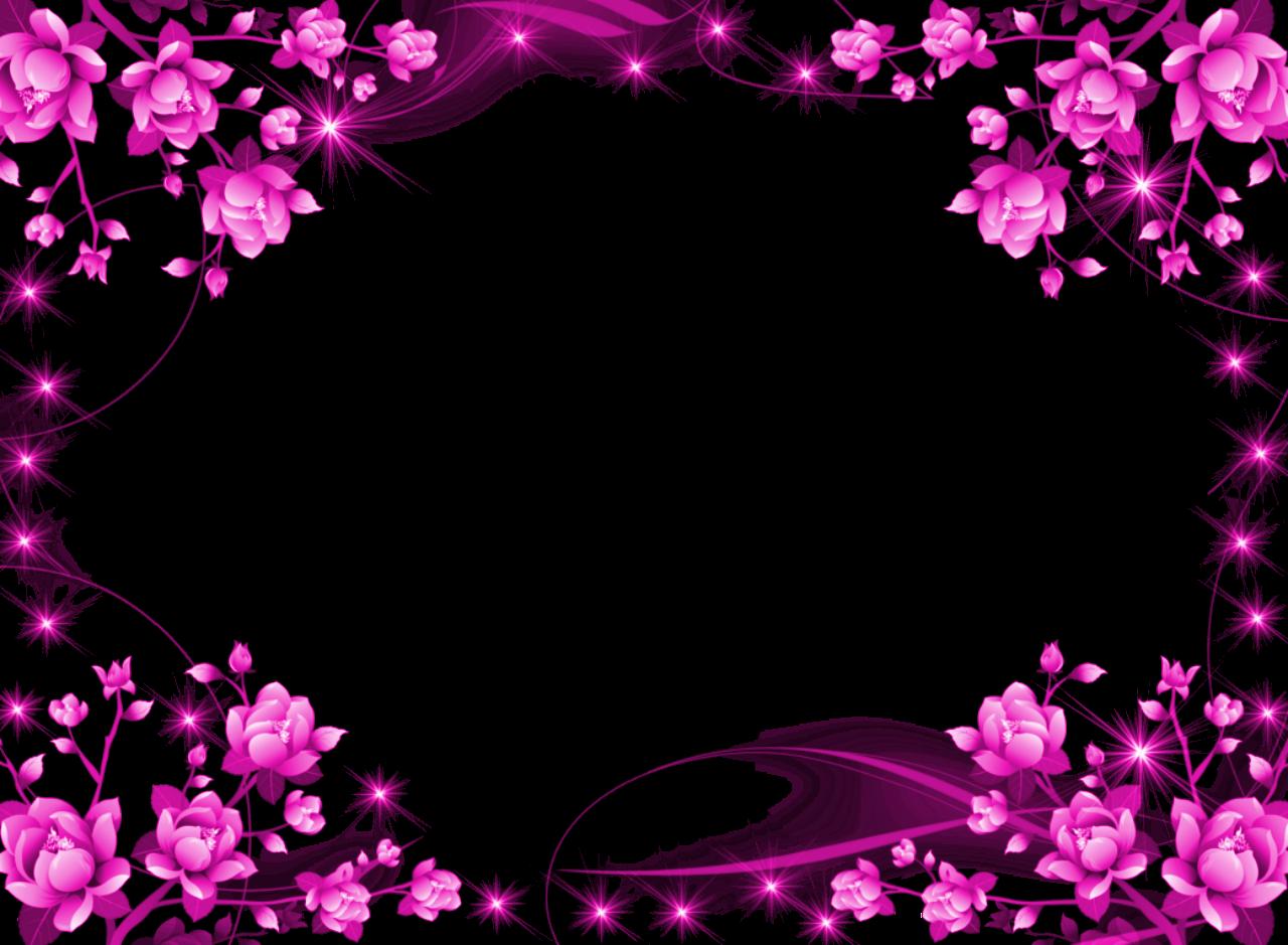 Pink Floral Border Png Image Transparent Purple Flower Frame Png 1280x939 Flower Frame Flower Border Flower Picture Frames