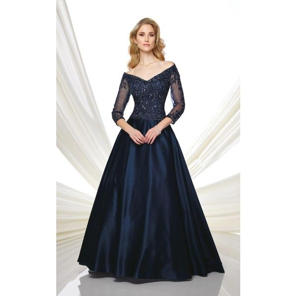 eecdb09f89 Mon Cheri 216980 Evening Dress Long V-Neck Mid-Length ( 518) ❤ liked on  Polyvore featuring dresses