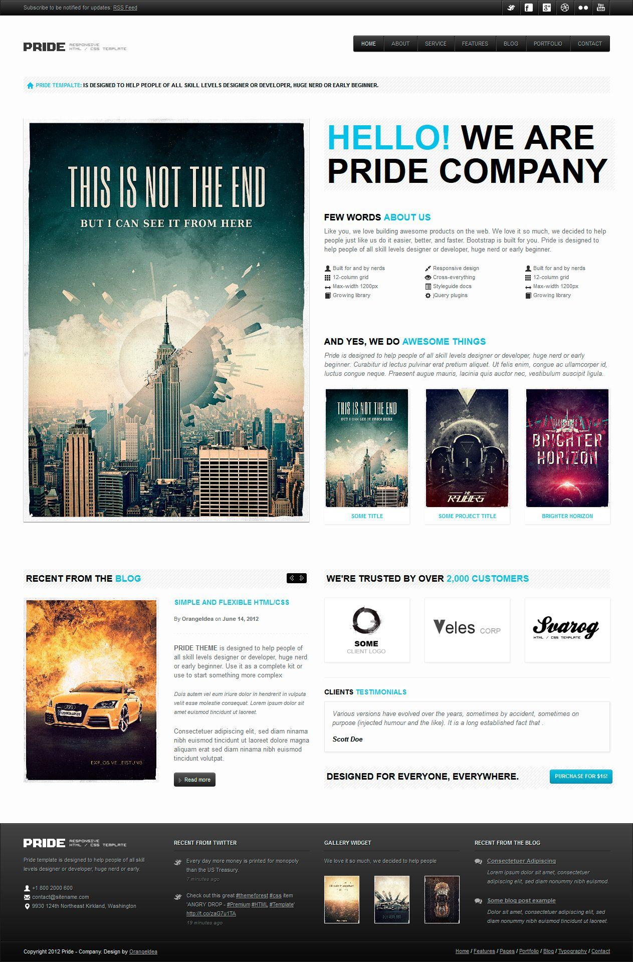 Pride Responsive Html Template By Orangeidea On Deviantart Web Layout Design Web Template Design Web Design Trends