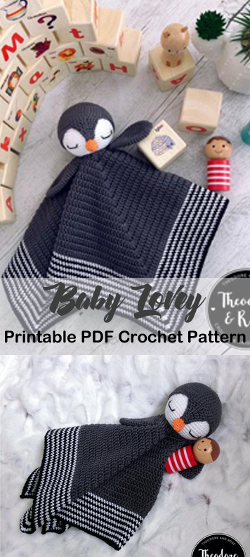 Make a Cute Penguin Baby Lovey Blanket #securityblankets
