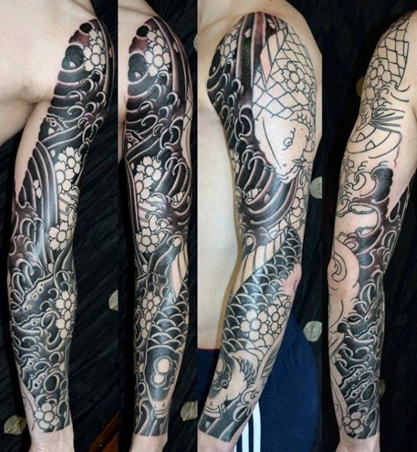 b1c15325f9cd2 Male Cherry Blossom Black Ink Full Sleeve Japanese Tattoo Deisng Ideas