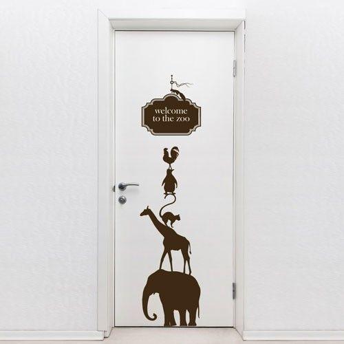 door decal welcome to the zoo this door vinyl sticker. Black Bedroom Furniture Sets. Home Design Ideas