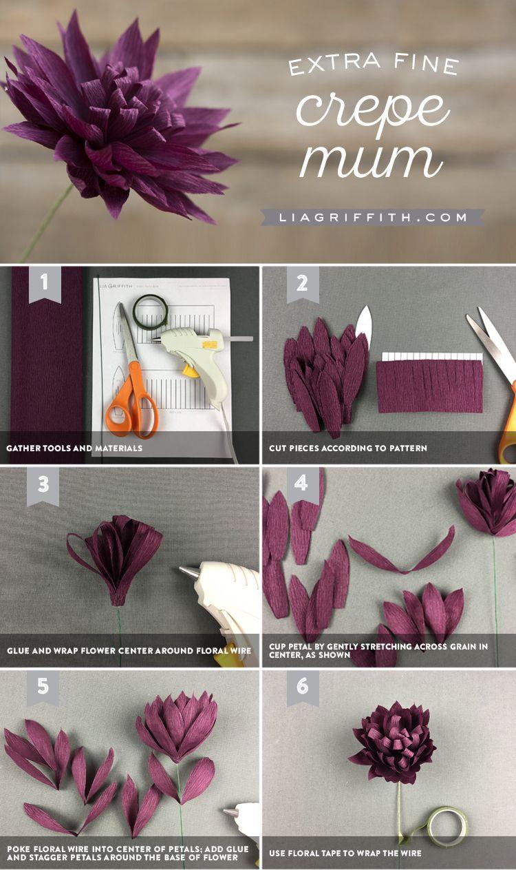 Extra Fine Crepe Paper Mums #paperflowertutorial