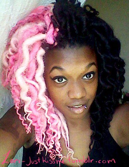 pink black locs hair