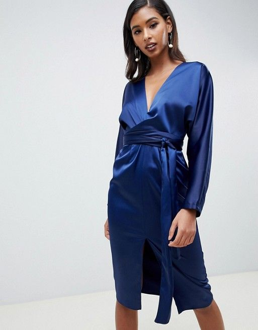 4a6bbdc0e6b DESIGN midi dress with batwing sleeve and wrap waist in satin