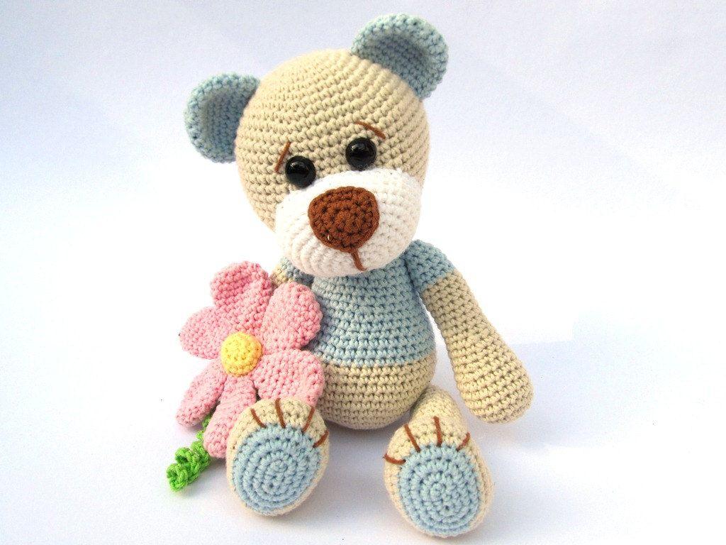 Amigurumi Flower : Teddy with flower amigurumi crochet pattern pdf e book