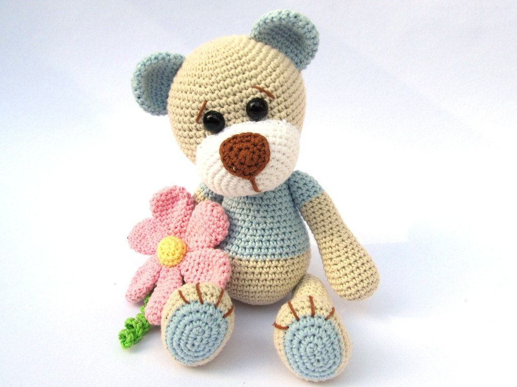 Amigurumi books uk : Teddy with flower amigurumi crochet pattern pdf e book