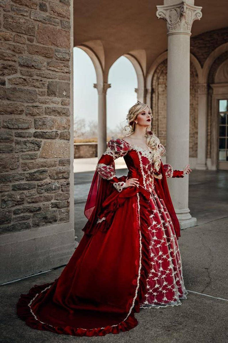 red queen gothic halloween or wedding medieval fantasy gown