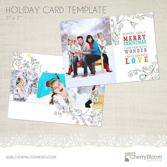 Christmas Card Template For Photographers 5 X 7 Landscape Etsy Christmas Card Template Holiday Card Template Christmas Cards