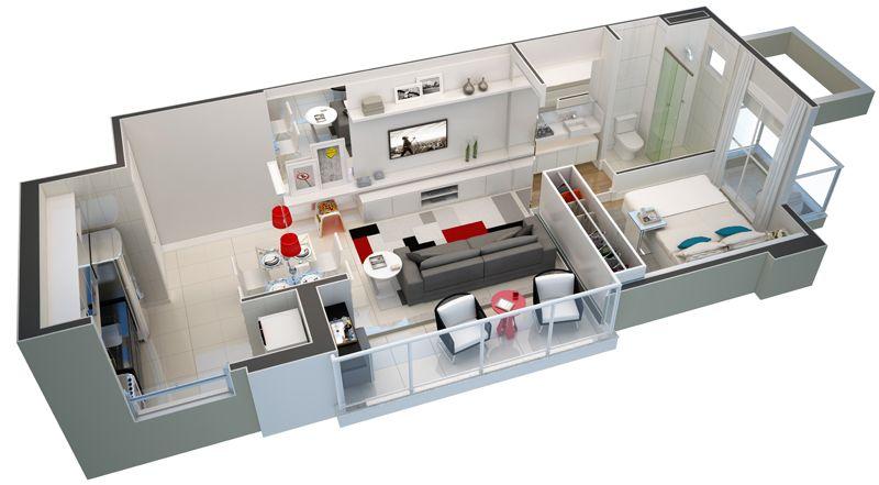 Apartamentos de 45m2 pesquisa google espa os pequenos for 45m2 apartment design