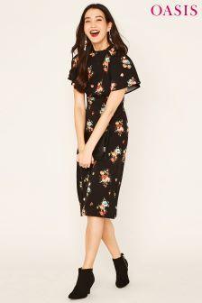 cf964c1569d Oasis Black Bouquet Floral Angel Sleeve Midi Dress   Fashion   Midi ...