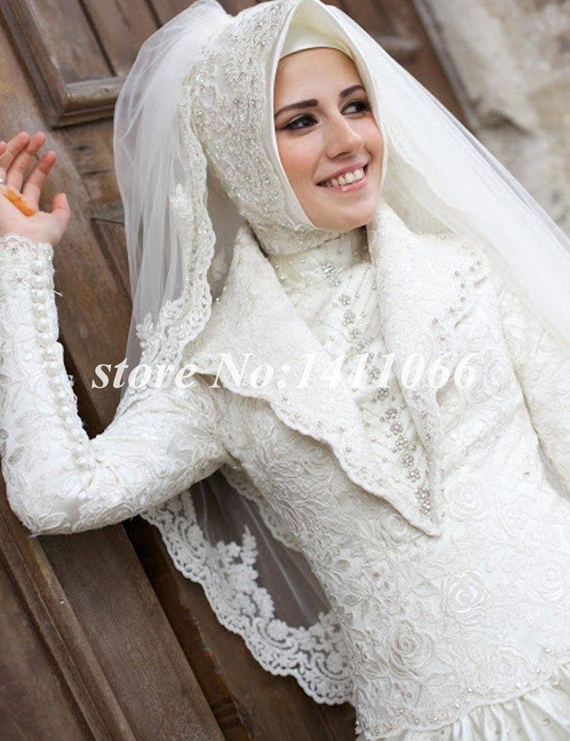 2015 Hijab Muslim Luxury Ball Gown Wedding Dress Bridal Gown Long Sleeve Lace Satin vestido de noiva robe de marriage casamento