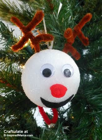 Christmas Ornaments for Kids to Make - Reindeer - B-Inspired Mama-  Additional tip...spray paint the Styrofoam balls brown. - Christmas Ornaments For Kids To Make - Reindeer - B-Inspired Mama