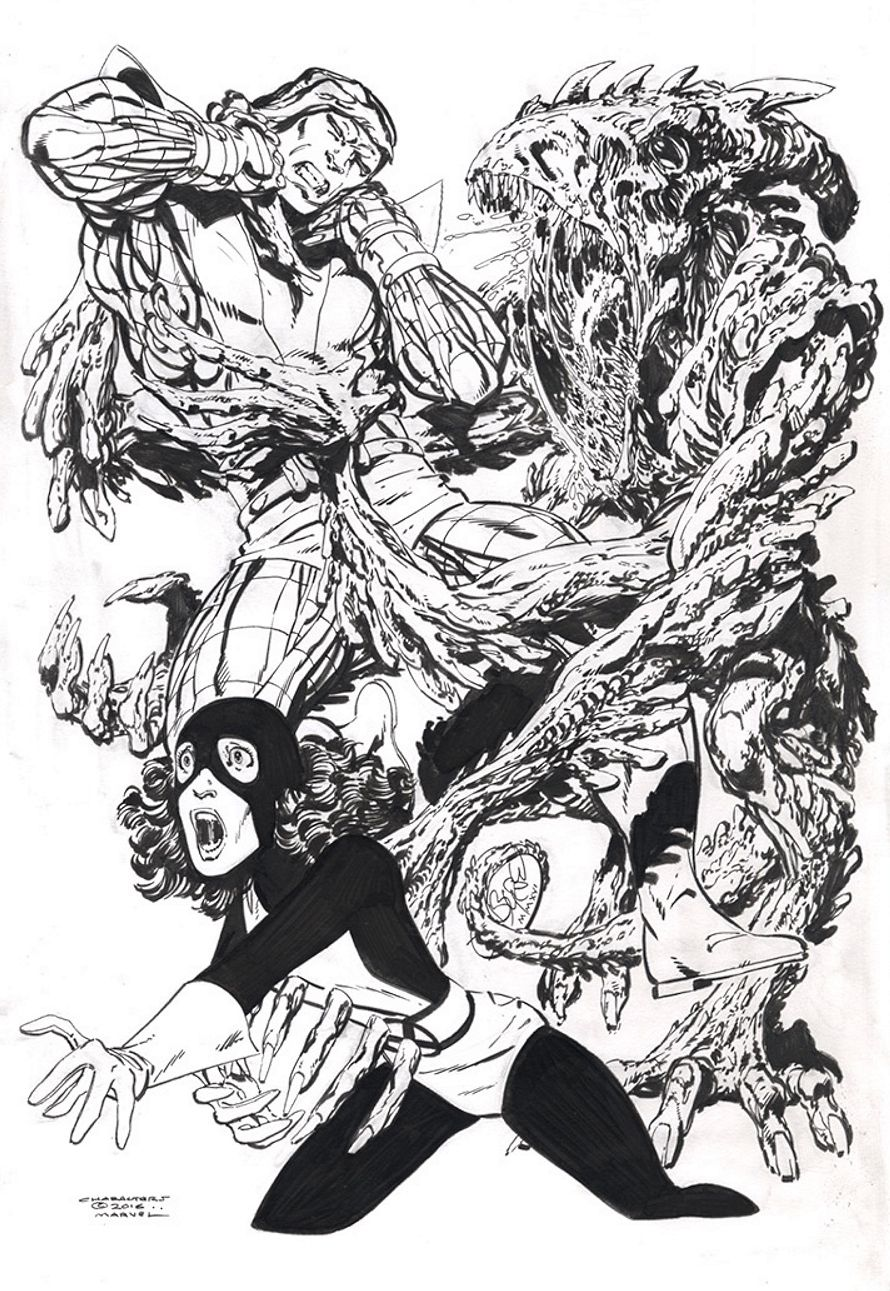 """Colossus & Kitty Pryde Vs N'Garai demon commission by John Byrne. 2016. John included the request by the customer: """"11"""" x 17"""" illustration of Colossus and Kitty Pryde vs. a bigger, more vicious, more..."""