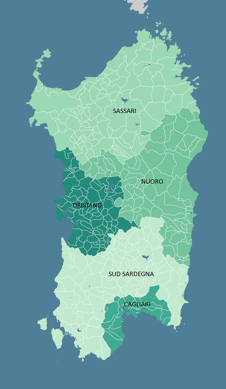 Provinces And Municipalities Of The Italian Region Of Sardinia