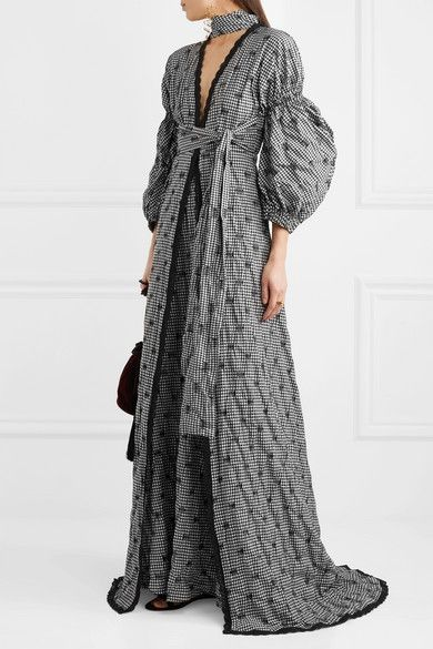Lace-trimmed Smocked Gingham Poplin Gown - Black Jonathan Simkhai 0ZmZeE10HK