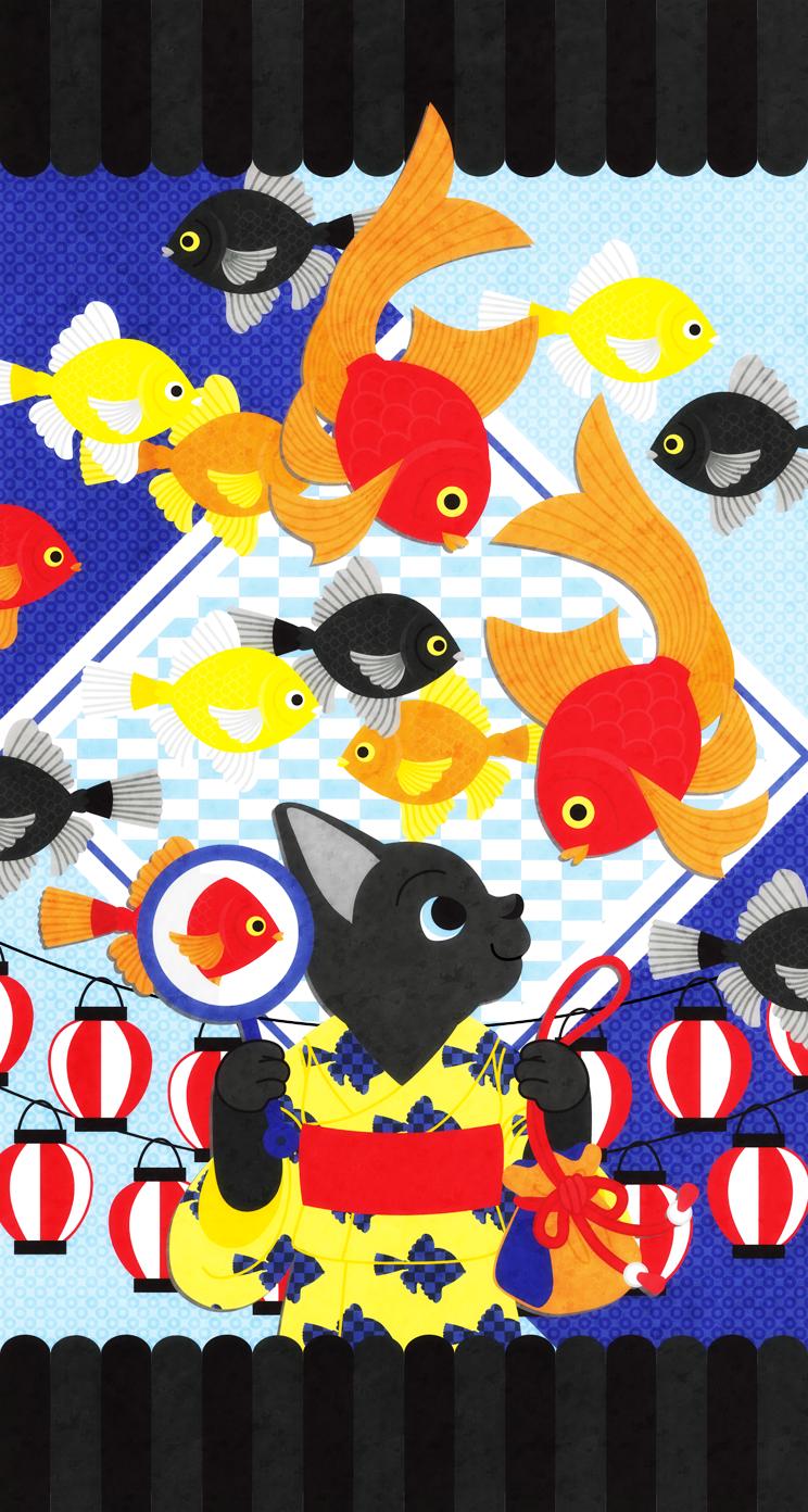 iphonewallpaper,イラスト,デザイン,猫,かわいい,金魚,夏,夏祭り,動物