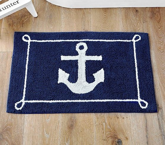 Anchors Away Bath Rug Bathroom Floor Mat Nautical Maritime Shower Home Decor