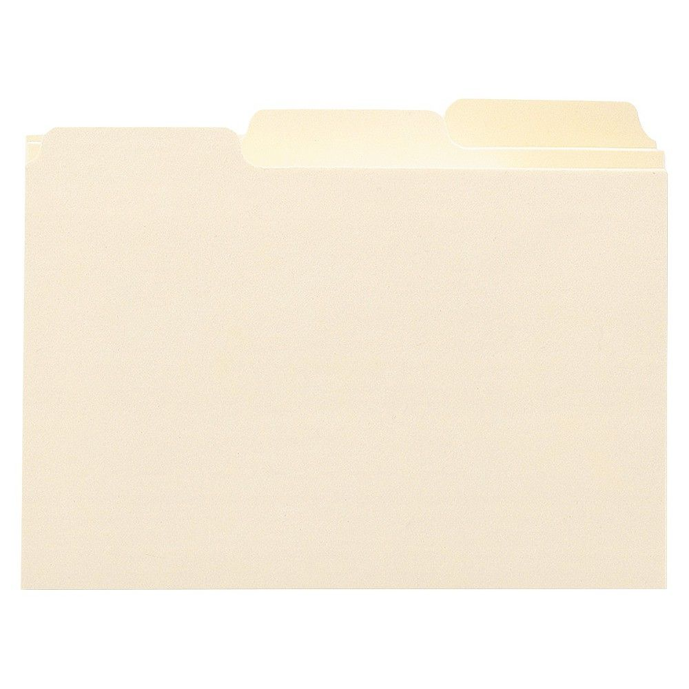 Smead Self-Tab Card Guides, Blank, 1/3 Tab, Manila, 4 x 6, 100/Box, Off White