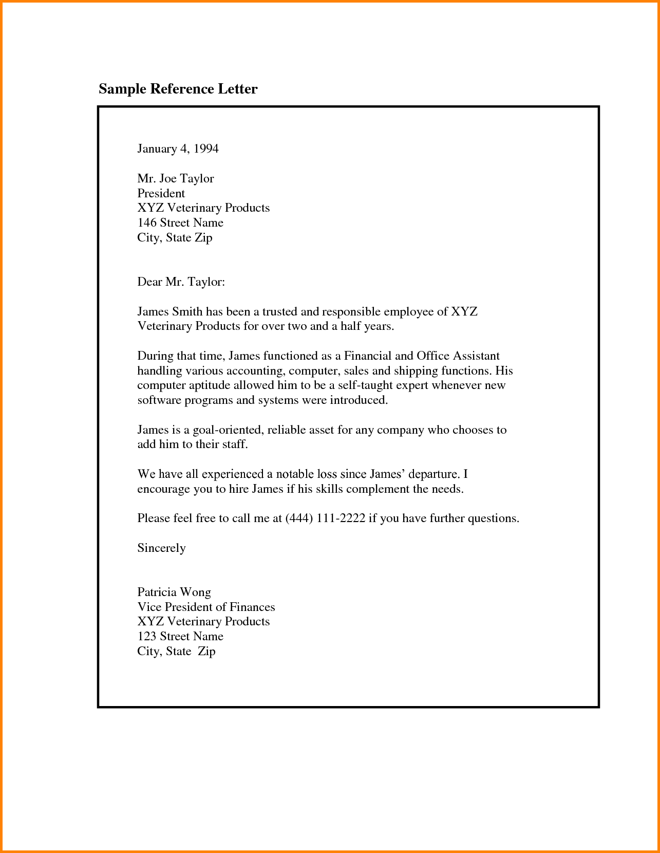 Example Of Reference Letters For Employment House Rental Receipt