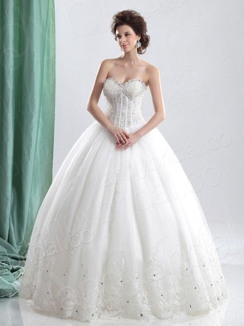 Ball Gown Sweetheart Floor Length Lace Wedding Dress #ShopSimple ...