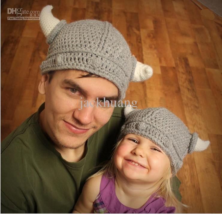 Wholesale Crochet Lael Viking Hat Childrens Knitted Hats Beanie Boy