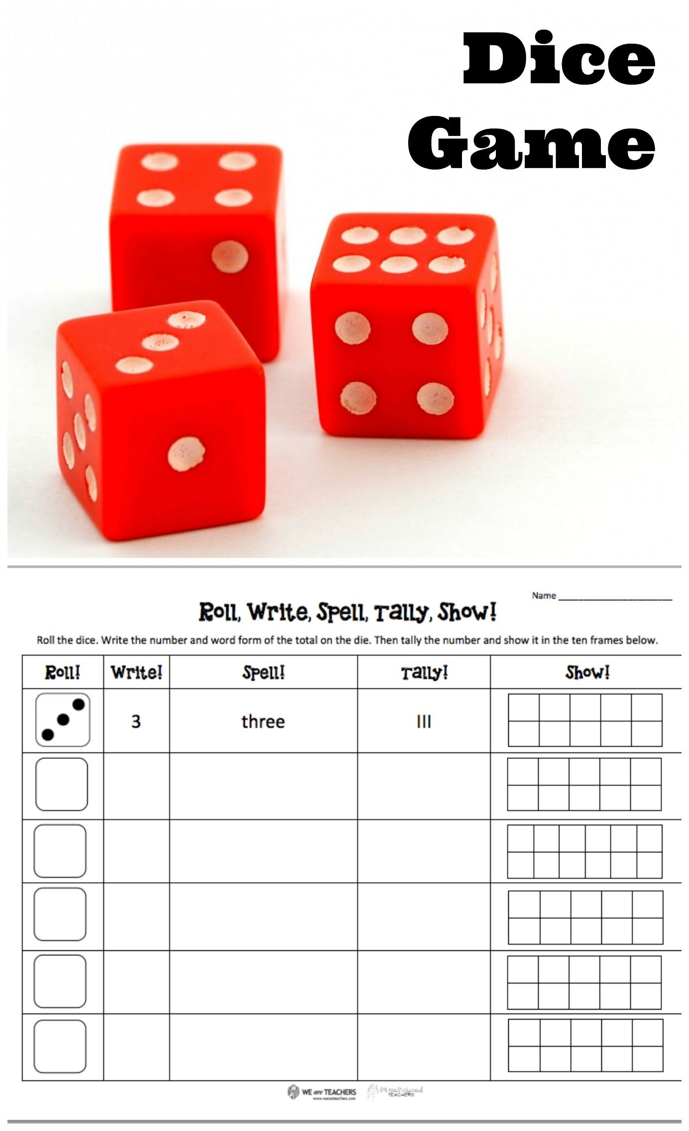 Free Printable Roll Dice Write And Tally The Numbers