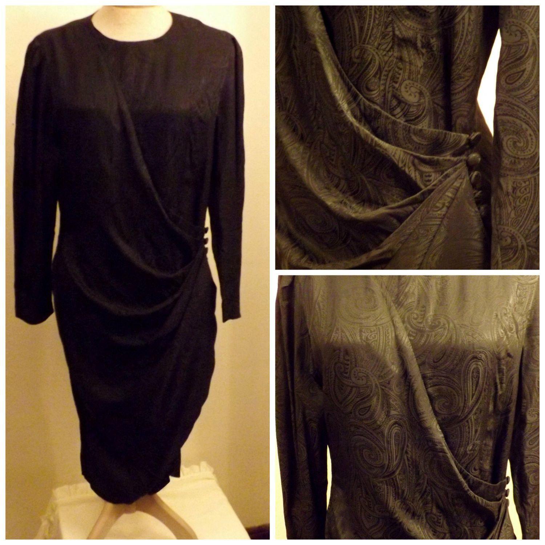 Adrianna papell designer silk lbd sexy black evening dress size