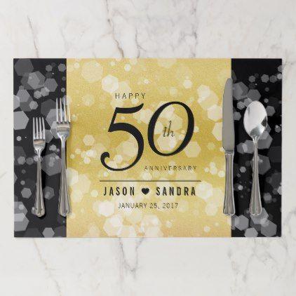 Elegant 50th golden wedding anniversary placemat anniversary gifts 50th wedding anniversary placemats junglespirit Choice Image