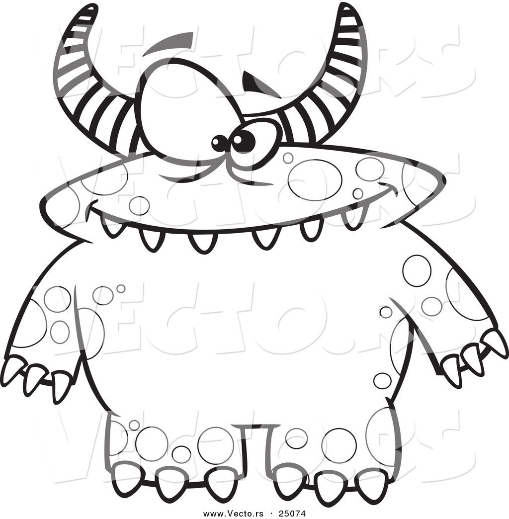 Vector Of Cartoon Spotted And Horned Monster Outlined Coloring