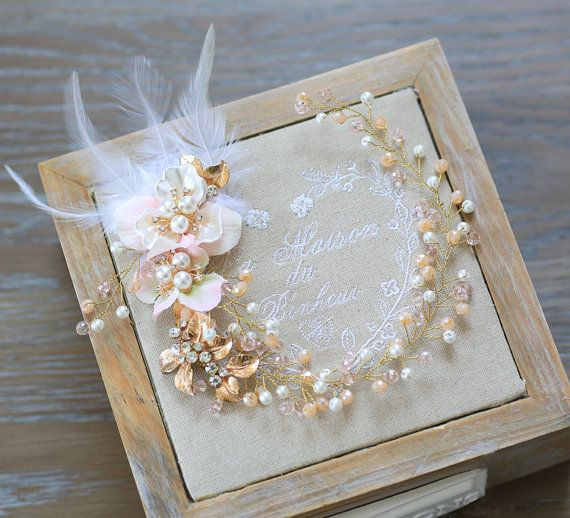 Gold leave pearl Flower wedding hair vine by LeahWorkshopDesigns