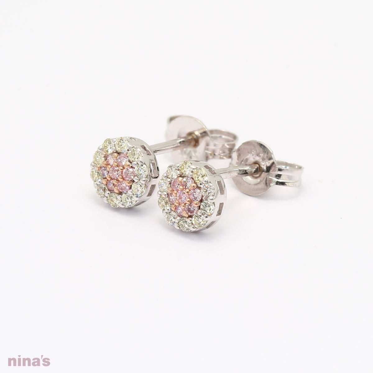 e0ba83d9e Pink and White diamond cluster studs with Rose White Gold - Our pink and white  diamond cluster stud earrings are just divine. The 9 karat white and rose  ...
