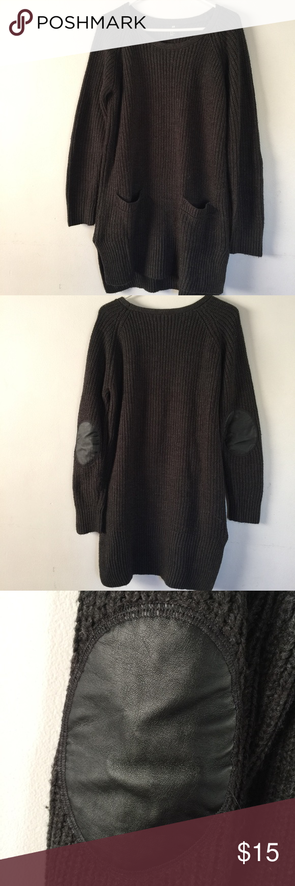 H&M Tunic Style Sweater with Pockets Size M | Gray color, Scoop ...