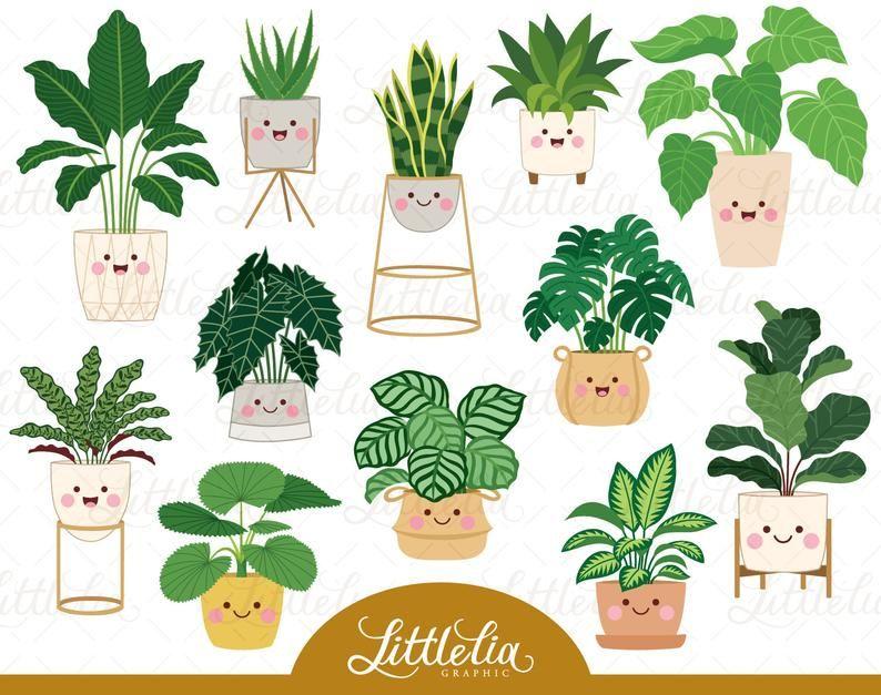 Clipart D Usine De Maison Clipart De Plante Kawaii Etsy In 2020 House Plants Watercolor Plants Clip Art