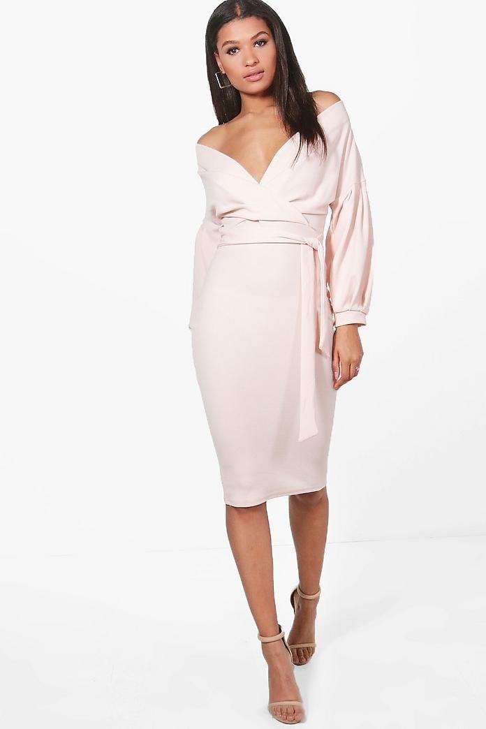 9bc2b5354fa9 Off The Shoulder Wrap Midi Bodycon Dress | *BooHoo | Dresses, Boohoo ...