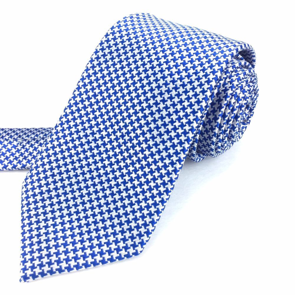 CHARLES TYRWHITT London 60 Long Skinny Blue Silver Houndstooth Silk Neck Tie #CharlesTyrwhitt | Men's Fashion & Style | Shop Menswear, Men's Clothes, Men's Apparel & Accessories at designerclothingfans.com | Find Sport Coats, Blazers, Suits, Shirts, Polos, Pants/Trousers and More...