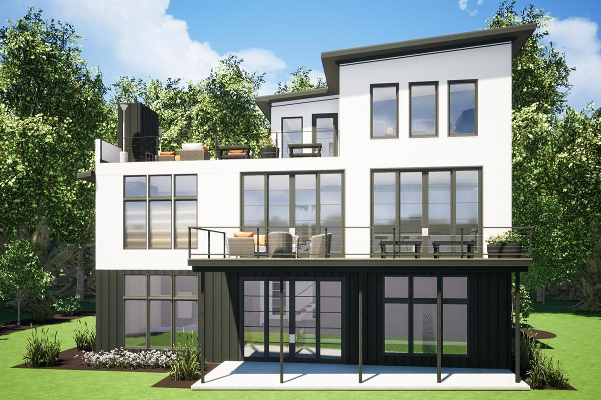 3 Story Modern House Plan With Large Roof Deck 575003dad Architectural Designs House Plans Modern House Plan House Roof House Outside Design