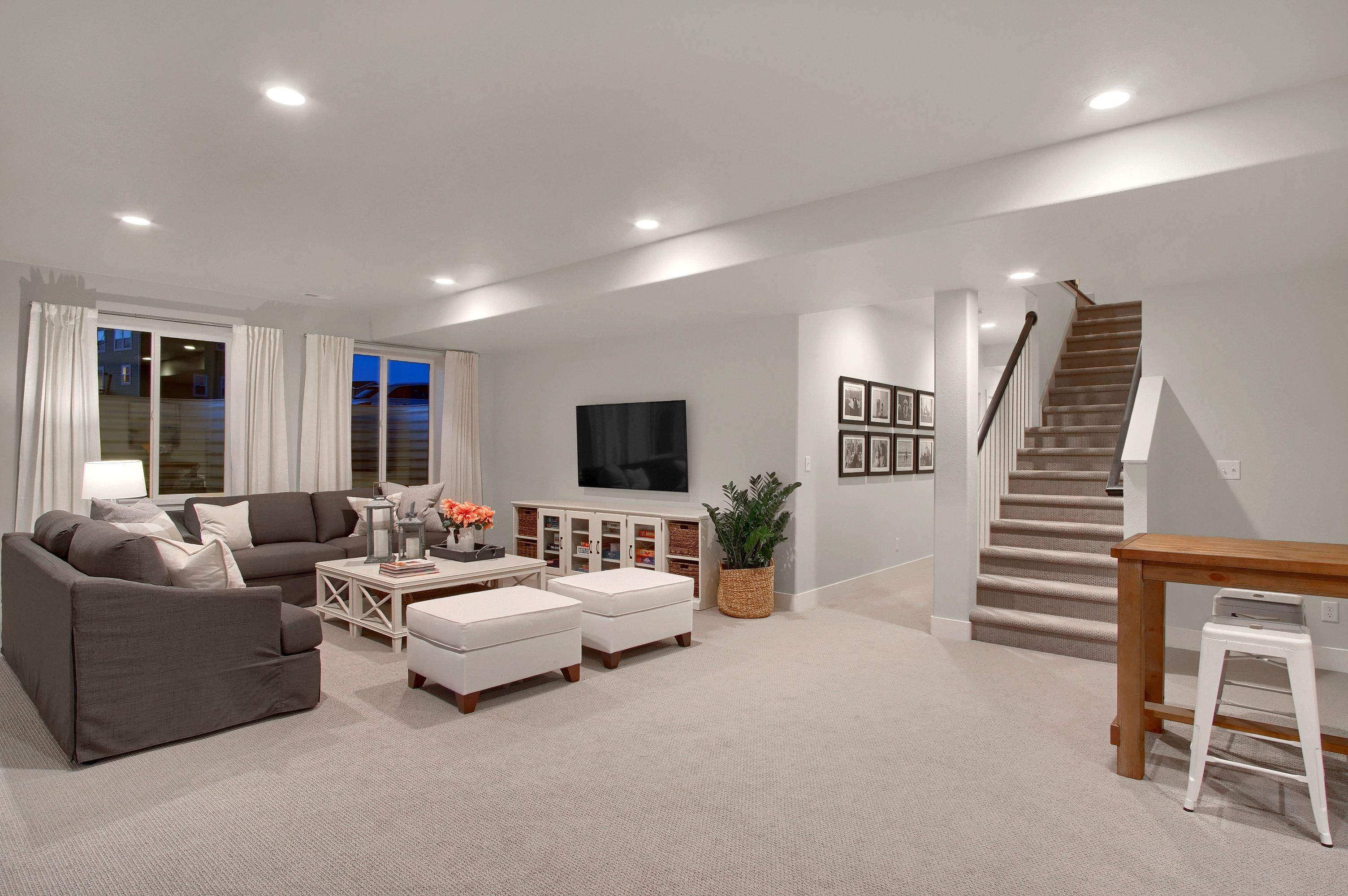 Finished Lower Level With Rec Room Flex Area 2 Bedrooms And Full Bath Mackintosh Basement Living Rooms Rec Room Remodel Basement Master Bedroom