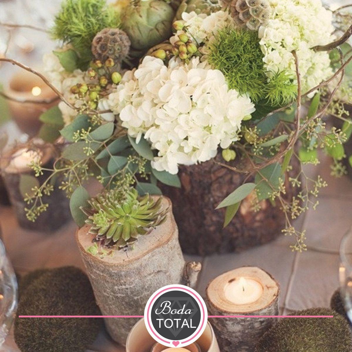 Elegiste Un Estilo R Stico Para Tu Boda Los Troncos Con Flores  ~ Centros De Flores Naturales Para Mesas