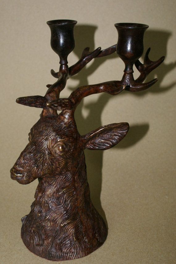 Vintage Solid, Heavy Bronze Cast Iron Deer, Stag, Buck Head Candle Holder  Antlers