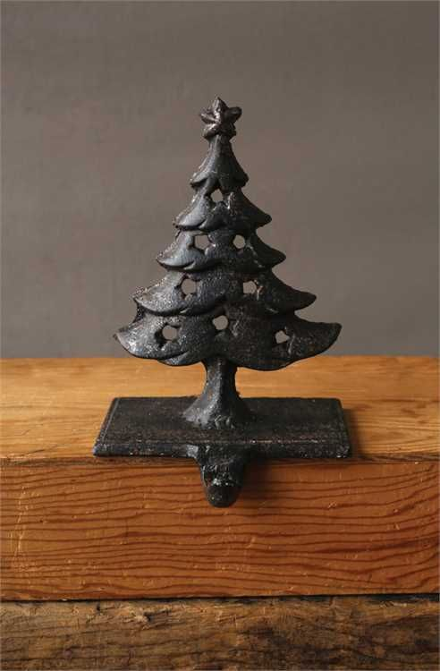 Cast Iron Stocking Holder with Tree  Star, Rust Finish Touch of