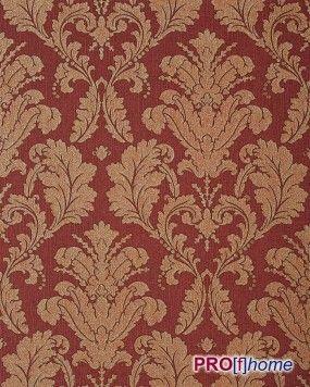 EDEM 752-36 Papel pintado barroco moderno con patrón oriental damasco y relieve estampado en caliente en rojo oro noble