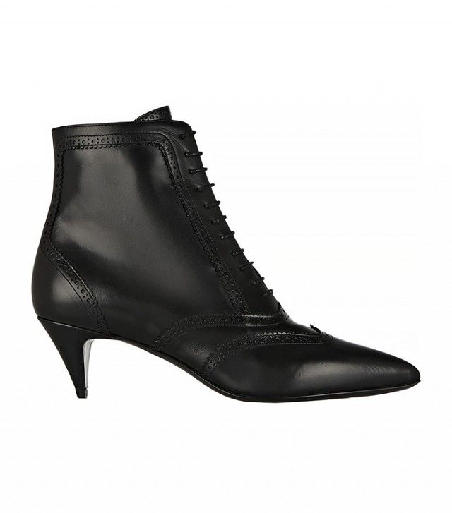 Love the Victoria-style vibe // Saint Laurent Cat Brogue-Style Leather Ankle Boots