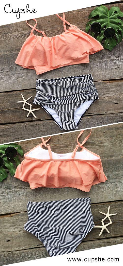 115afa6706 Cupshe Seaside Gale Falbala High-waisted Bikini Set