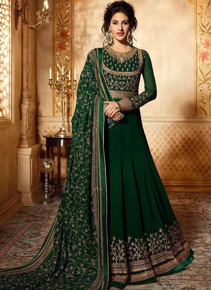 e29226e239 Dark Green and Gold Embroidered Georgette Anarkali   PFSFW ...