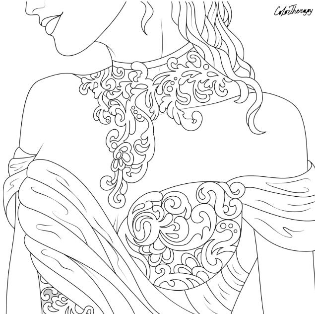 Beautiful Wedding Dress To Color Using Color Therapy App Get Colortherapy Me Color Therapy App Coloring Pages Color Therapy